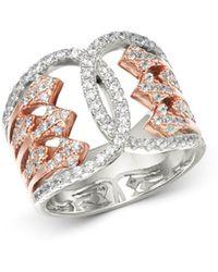 Bloomingdale's - Diamond Art Deco Ring In 14k White & Rose Gold - Lyst