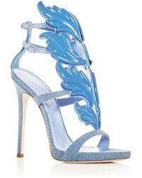 Giuseppe Zanotti - Women's Cruel Coline Denim Wing Embellished High-heel Sandals - Lyst