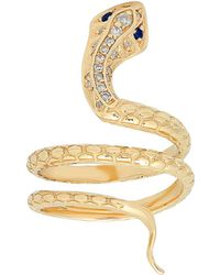 ICONERY - X Stone Fox Bride 14k Yellow Gold Snake Ring With Diamonds - Lyst