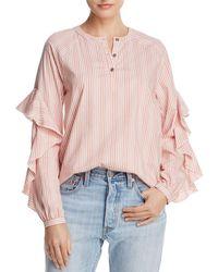 Ella Moss - Ruffle-trim Striped Shirt - Lyst