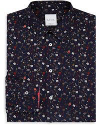 Paul Smith | Hand-drawn Floral Slim Fit Dress Shirt | Lyst