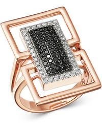 Bloomingdale's - Black & White Diamond Geometric Ring In 14k Rose Gold - Lyst