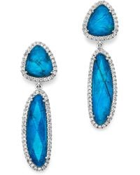 Meira T - 14k White Gold Chrysocolla Doublet And Diamond Dangle Earrings - Lyst