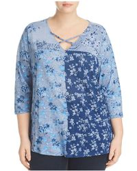 Lucky Brand - Three Quarter-sleeve Floral Tee - Lyst