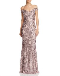 Aqua - Sequined Off-the-shoulder Gown - Lyst