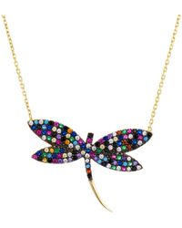 Aqua - Multicolour Dragonfly Pendant Necklace In Sterling Silver Or Gold - Tone Sterling Silver - Lyst