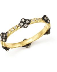 Armenta - Blackened Sterling Silver & 18k Yellow Gold Old World Cravelli Cross Diamond Stacking Ring - Lyst