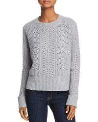 Aqua - Cashmere Chunky Pointelle Cable Cashmere Sweater - Lyst