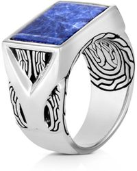 John Hardy - Sterling Silver Classic Chain Sodalite Signet Ring - Lyst