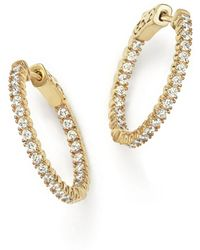 Bloomingdale's - Diamond Inside Out Hoop Earrings In 14k Yellow Gold - Lyst