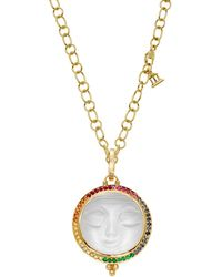 Temple St. Clair - 18k Yellow Gold Celestial Diamond & Rainbow Gemstones Moonface Pendant - Lyst
