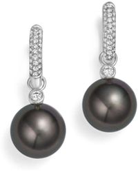 Tara Pearls - 18k White Gold Cultured Tahitian Black Pearl & Diamond Huggie Earrings - Lyst