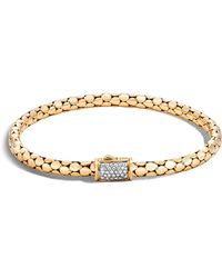 John Hardy - 18k Yellow Gold Dot Slim Chain Bracelet With Diamonds - Lyst