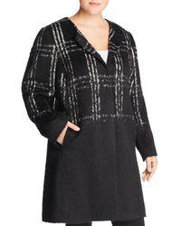 Eileen Fisher - Plaid Color-block Coat - Lyst