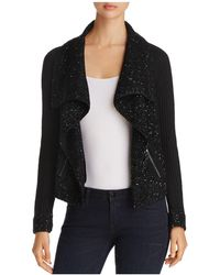 Sioni | Mixed-media Draped Front Sweater Jacket | Lyst
