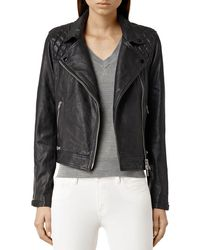 AllSaints - Conroy Quilted Leather Biker Jacket - Lyst