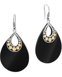 John Hardy - 18k Yellow Gold And Sterling Silver Batu Carved Chain Earrings With Black Onyx - Lyst