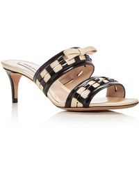Giorgio Armani - Women's Bow Embellished Leather Slide Mid Heel Sandals - Lyst