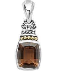 Lagos - 18k Gold And Sterling Silver Caviar Colour Pendant With Smoky Quartz - Lyst