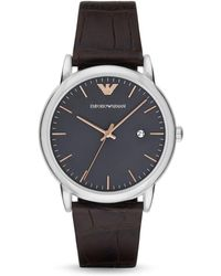 Armani - Emporio Three Hand Brown Leather Watch - Lyst