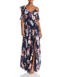 Aqua - Floral-print Ruffle Gown - Lyst