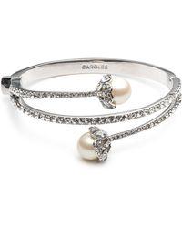 Carolee - Simulated Pearl & Pavé Bracelet - Lyst