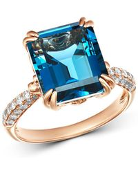 Bloomingdale's - London Blue Topaz & Diamond Ring In 14k Rose Gold - Lyst