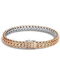 John Hardy - Sterling Silver & Bronze Classic Chain Reversible Flat Chain Bracelet - Lyst