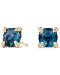 David Yurman - Châtelaine Earrings With Hampton Blue Topaz And Diamonds In 18k Gold - Lyst