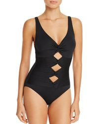 Carmen Marc Valvo - Twist Front One Piece Swimsuit - Lyst