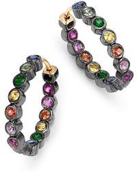 Shebee - Blackened Sterling Silver & Multicolour Sapphire Mini Oval Hoop Earrings - Lyst