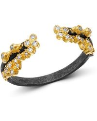 Armenta - 18k Yellow Gold & Blackened Sterling Silver Old World Champagne Diamond Stacking Ring - Lyst