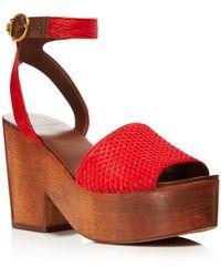 Tory Burch - Women's Camilla Calf Hair & Leather Platform Sandals - Lyst