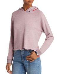 Sundry - Raw-edge Cropped Hooded Sweatshirt - Lyst