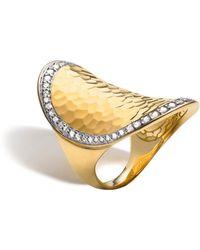 John Hardy - Palu 18k Gold & Diamond Pavé Oval Saddle Ring - Lyst