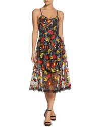 Dress the Population - Uma Embroidered Midi Dress - Lyst
