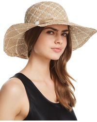 Aqua - Two-tone Patterned Straw Sun Hat - Lyst