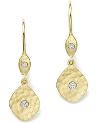 Meira T - 14k Yellow Gold Kite Disc Earrings With Diamonds - Lyst