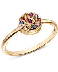 Shebee - 14k Yellow Gold Multicolour Sapphire Spiral Ring - Lyst