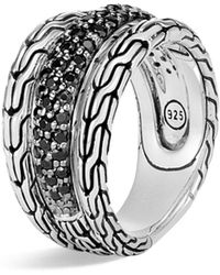John Hardy - Sterling Silver Classic Chain Black Sapphire & Black Spinel Ring - Lyst