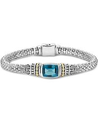 Lagos - 18k Gold And Sterling Silver Caviar Color Bracelet With London Blue Topaz - Lyst