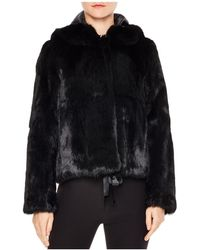 Sandro - Varda Tie-front Real Rabbit Fur Jacket - Lyst
