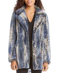 Karen Kane - Patterned Faux Fur Coat - Lyst