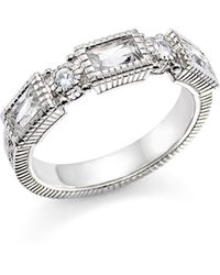 Judith Ripka - Sterling Silver Narrow Estate 3 Baguette Band With White Topaz And White Sapphire - Lyst