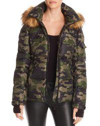Aqua - Faux Fur-trim Camo Hooded Puffer Jacket - Lyst