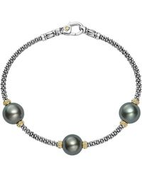 Lagos - 18k Gold And Sterling Silver Luna Cultured Tahitian Pearl Triple Station Bracelet - Lyst
