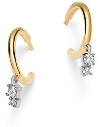 Adina Reyter - 14k Yellow Gold & Sterling Silver Amigos Diamond Charm Huggie Hoop Earrings - Lyst