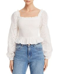 Cotton Candy Square - Neck Smocked Eyelet Top