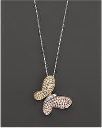Bloomingdale's - Diamond Pavé Butterfly Pendant In 14 Kt. White, Yellow And Rose Gold, 0.40 Ct. T.w. - Lyst