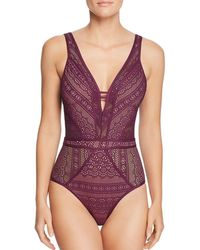 Becca - Colour Play Plunge One-piece (navy) Women's Swimsuits One Piece - Lyst
